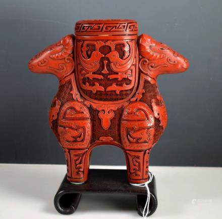 Chinese Carved Red Cinnabar Lacquer Container