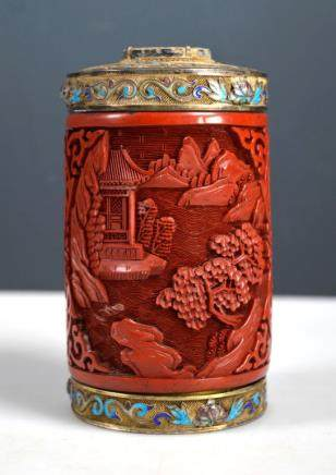 Chinese Cinnabar Lacquer & Silver Tea Canister