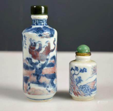 Two 19th C Chinese Red & Blue Porcelain Snuffs