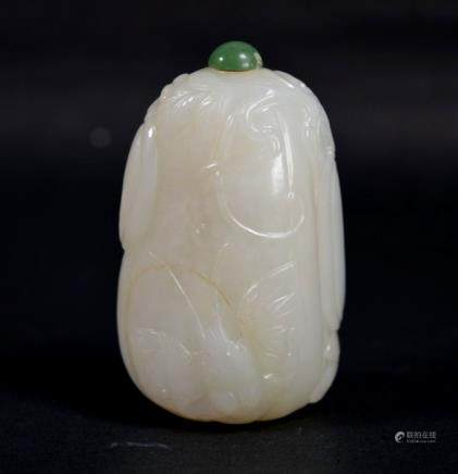 Fine 19th C Chinese Carved White Jade Melon Snuff