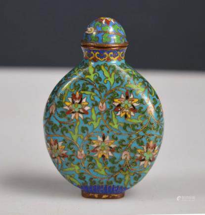 18th/19th C Chinese Cloisonne Lotus Snuff Bottle