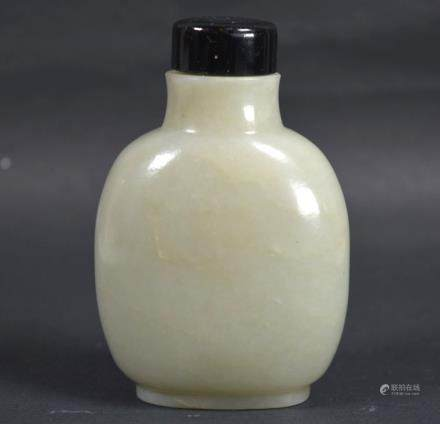 Lg 19th C Chinese Pale Celadon Jade Snuff Bottle