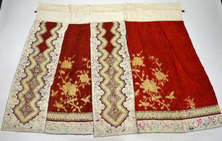 Qing Dynasty Chinese Embroidered Silk Skirt