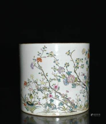 A Famille Rose Brushpot