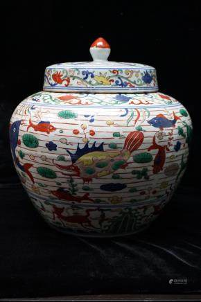 Wanli Mark, A Large Wucai Glazed Jar