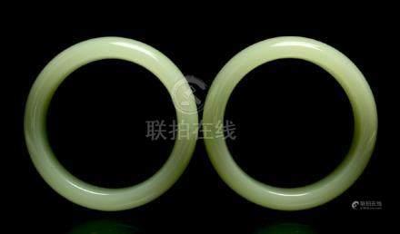 Pair Pale Celadon Jade Bangles