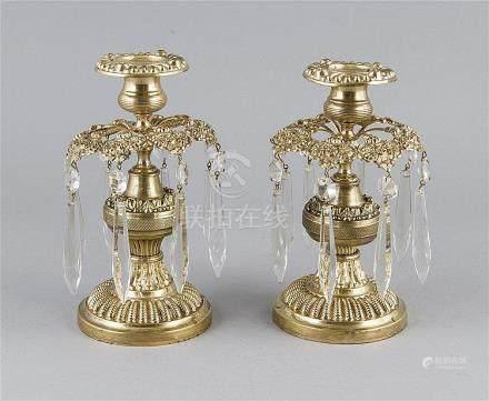 Paar Historismus Tischleuchter, 2. H. 19. Jh., Bronze, nacht