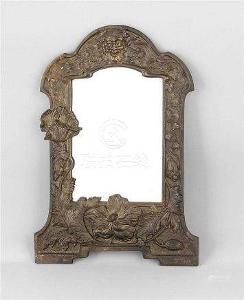 Jugendstil-Spiegel, um 1900, Eisenguss, Rahmen mit passig ge