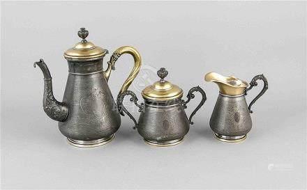 3-tlg. Kaffeekern, WMF, Straußenmarke 1903/10, Britannia Met