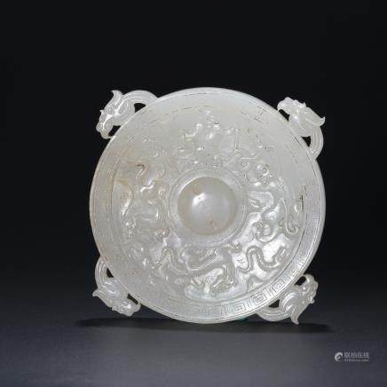 CHINESE WHITE JADE DRAGON BI PENDANT