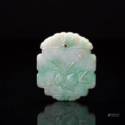 CHINESE JADEITE PENDANT CARVED PEACHES