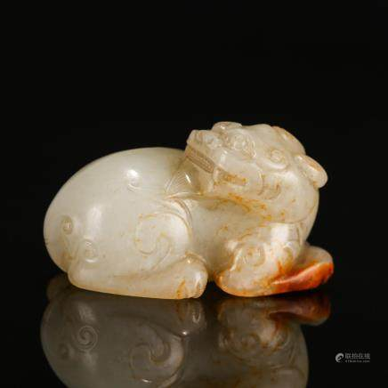 CHINESE WHITE JADE CARVED BEAST WITH RUSSET