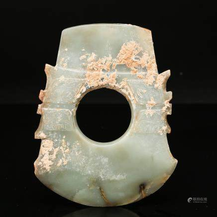 CHINESE HAN JADE PENDANT IN AXE SHAPE