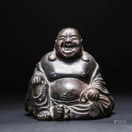 CHINESE BRONZE FIGURE OF SEATED HOTEI