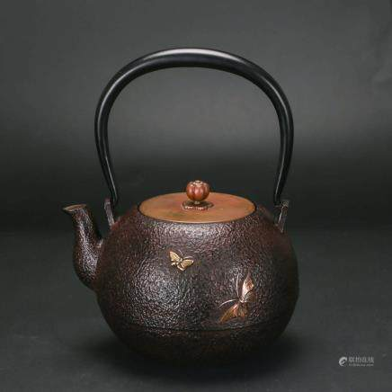 A 19TH CENTURY CHINESE IRON TEA POT