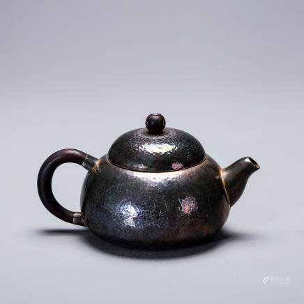 CHINESE SILVER OVER YIXING ZHISHA TEA POT