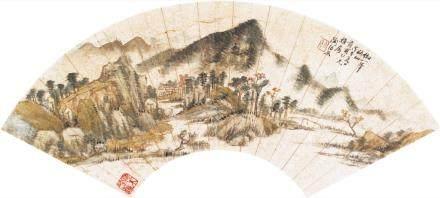 陶绍原-山水扇面
