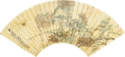 金梧-菊花扇面