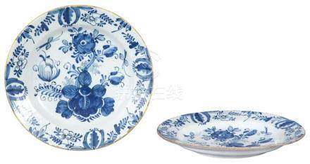 Pair of Dutch Delft Blue and White Chargers