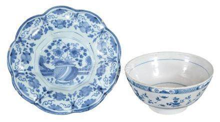 English Delft Blue and White Dish; Together with a English D