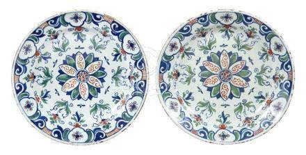 Pair of English Delft Polychrome Decorated Chargers