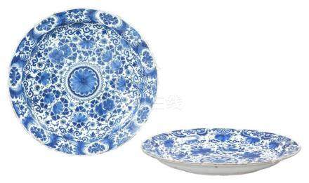 Two Dutch Delft Blue and White Chargers 18th Century Each wi