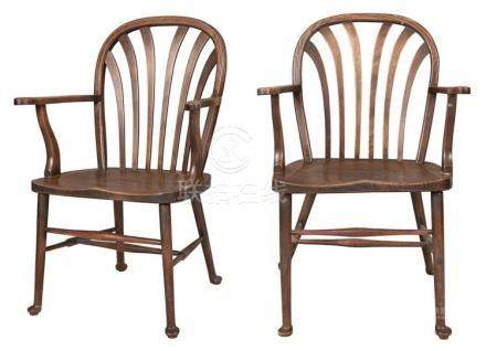 Pair of English Oak and Other Woods Windsor Open Armchairs 1