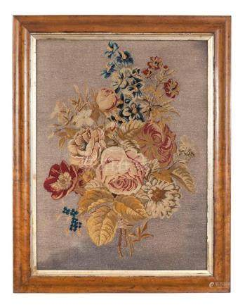 Victorian Needlework and Beadwork Floral Picture Height 29 i
