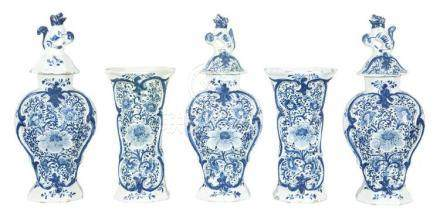 Dutch Delft Five-Piece Garniture