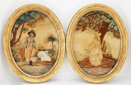 Two Pairs of English Silk Pictures