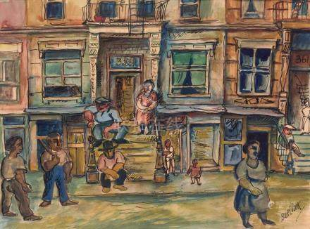 Attributed to David Davidovich Burliuk Street Scene