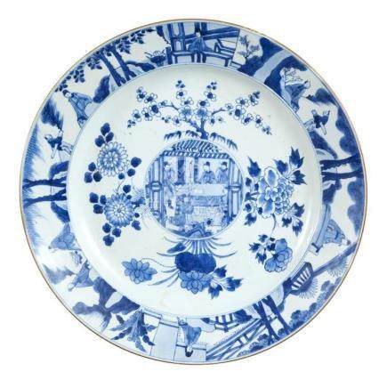 Chinese Blue and White Porcelain Charger Kangxi Period Decor