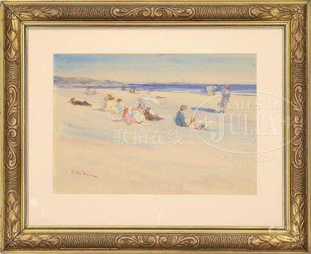 ESTHER M. GROOME (American, 1857-1929) BEACH GOERS ON GOOD H