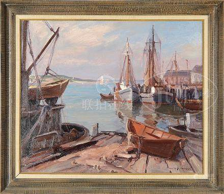 "EMILE ALBERT GRUPPE (American, 1896-1978) ""BOATS AT DOCK, GL"