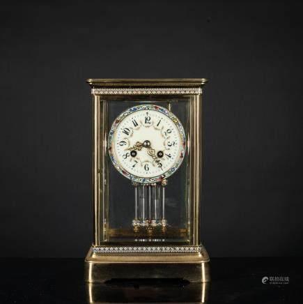 French Cloisonne Mercury Clock