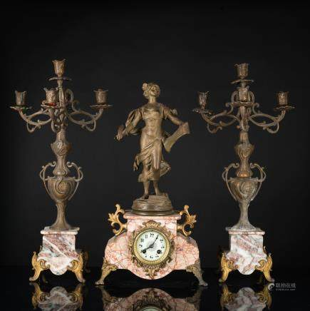 19th Antique Group of French Clock and Candle Stand