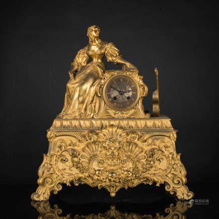 18th French Antique Gilt Clock