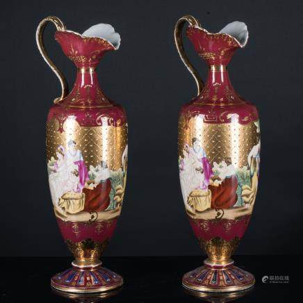 Antique / Vintage Pair of Enameled Porcelain Vases