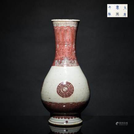 Kangxi mark but 19th Kuangxu Copy Red Glazed Vase
