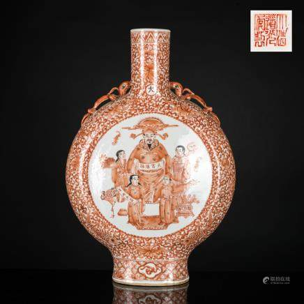 19th Antique Taokuang Red Glazed Vase