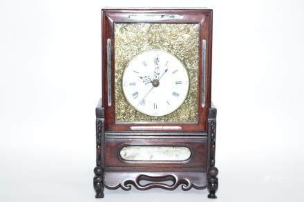 19th C. Chinese SuZhou Style Hongmu Frame Clock
