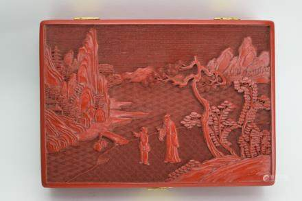 Chinese Cinnabar Carved Jewelry Box