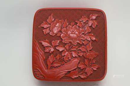 Qing Chinese Cinnabar Carved Square Box