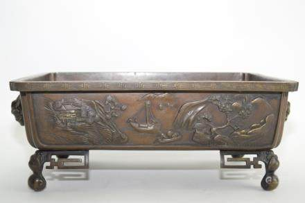 19th C. Japanese Bronze Relief Carved Censer