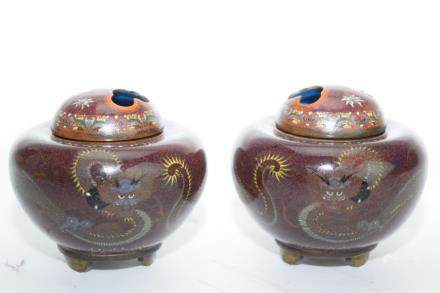 Pair of Meiji Period Japanese Cloisonne Incense Burner
