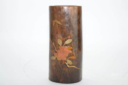 19th C. Japanese Partial Gilt Wood Carved Flower Vase