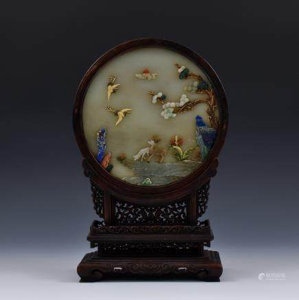 DEER & CRANE STONES INLAID JADE TABLE SCREEN