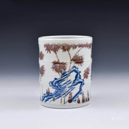 18TH C RED & BLUE PORCELAIN BRUSH POT IN BAMBOO MOTIF