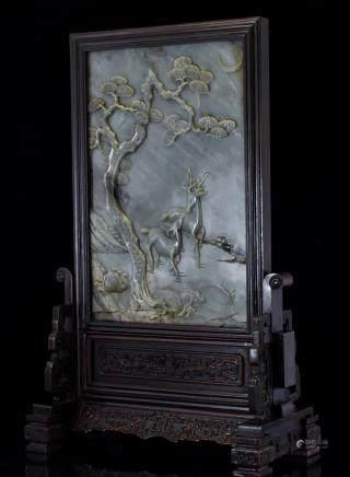 GRAYISH CELADON JADE TABLE SCREEN WITH TWO DEER MOTIF