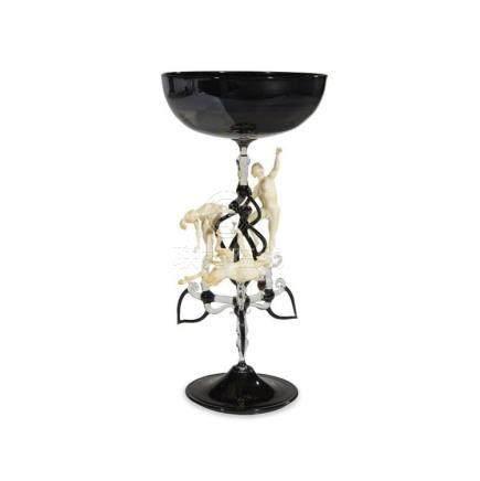 LUCIO BUBACCO (ITALIAN, B. 1957), FLAMEWORKED GLASS GOBLET,